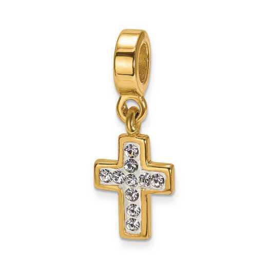 QRS1913GP: SS Gold-Plated Reflection Beads Swarovski CroSS Dangle Bead