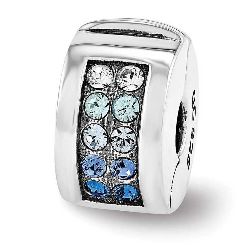 QRS3432: SS Reflection Beads Swarovski Channel Blues Clip Bead