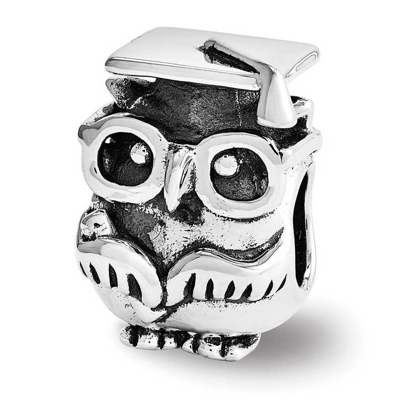 QRS3443: Sterling Silver Reflection Beads Graduation Owl Bead