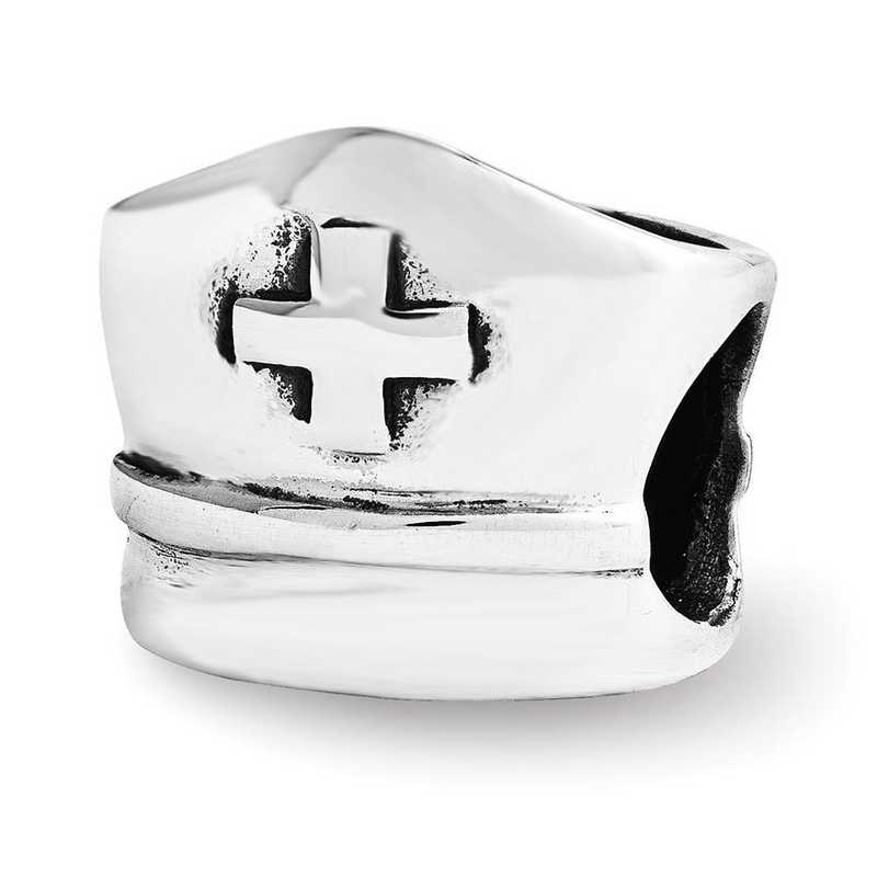 QRS3520: Sterling Silver Reflection Beads Nurse Hat Bead