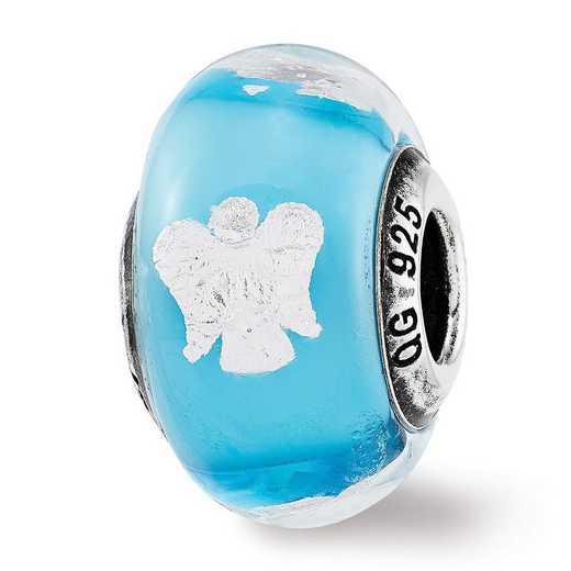 QRS3733: SS Reflection Beads Foil Angel Blue Italian GlaSS Bead