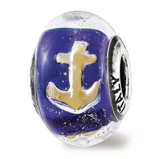 QRS3736: SS Reflection Beads Foil Anchor Blue Italian GlaSS Bead