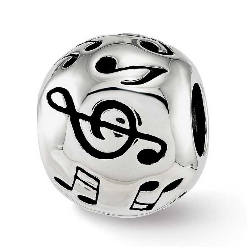 QRS3848: Sterling Silver Reflection Beads Enameled Musical Notes Bead