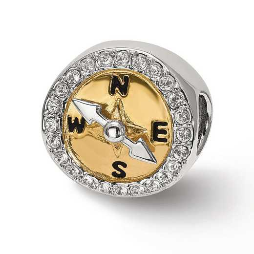 QRS3923: SS Reflection Beads Gold Tone Cz Moveable CompaSS Bead