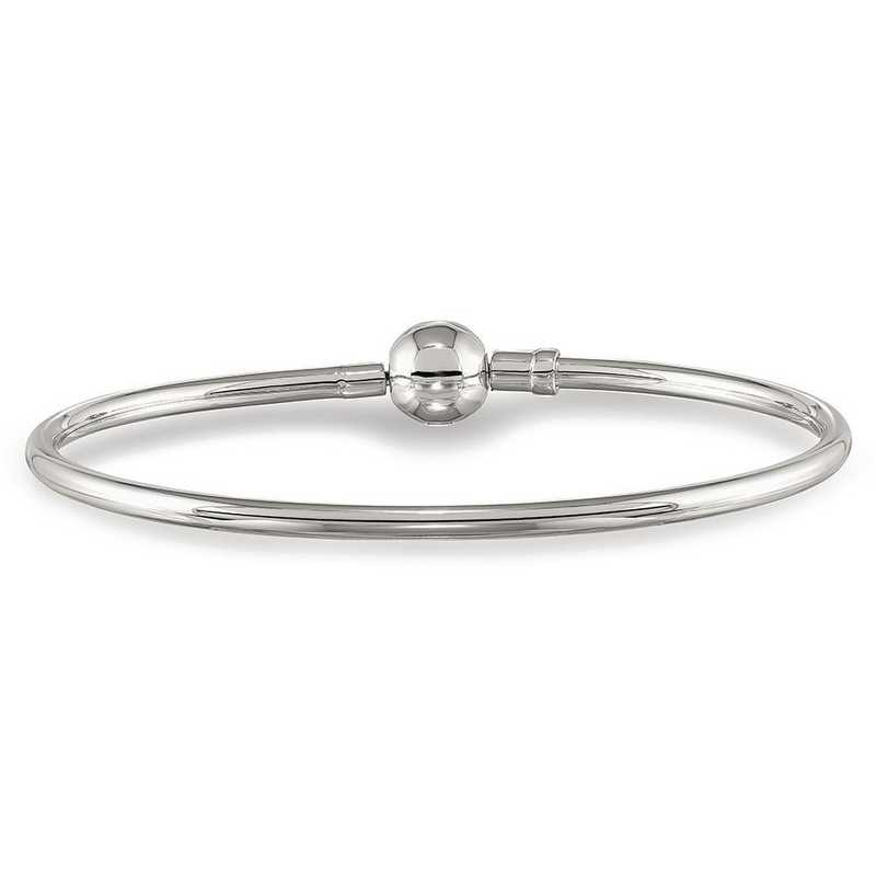 QRS3983-8.25: SS Reflection Beads Bangle With A Circle Clasp Bead