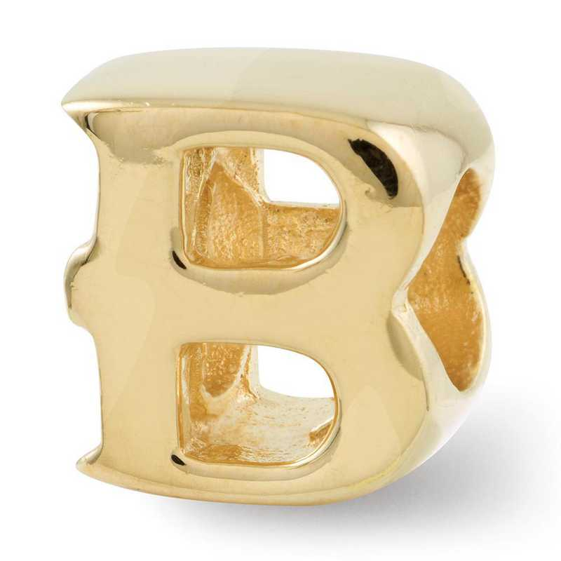 QRS468BGP: Sterling Silver Gold-Plated Reflection Beads Letter B Bead
