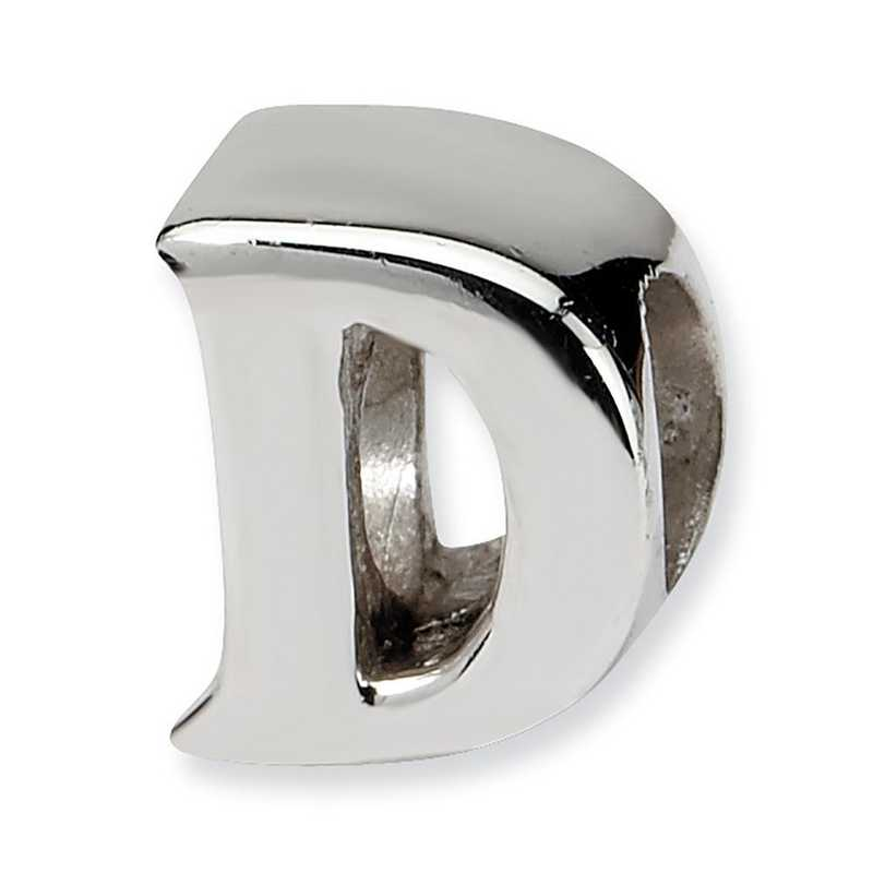 QRS468D: Sterling Silver Reflection Beads Letter D Bead