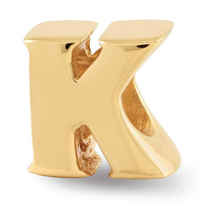 QRS468KGP: Sterling Silver Gold-Plated Reflection Beads Letter K Bead