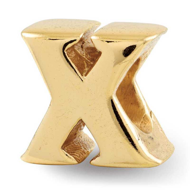QRS468XGP: Sterling Silver Gold-Plated Reflection Beads Letter X Bead