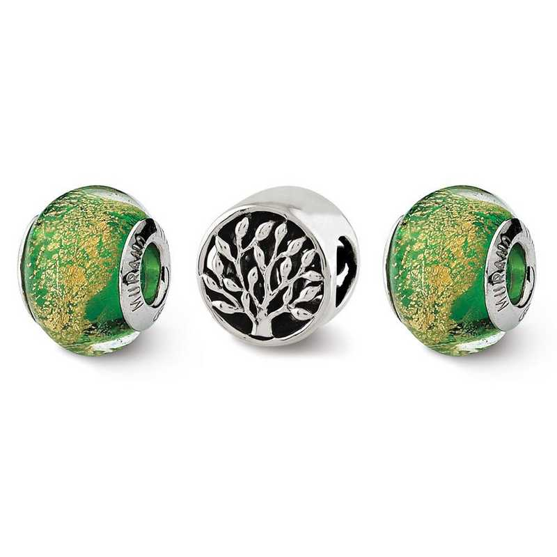 QRSET141: SS Reflection Beads Trees Of Green Boxed Bead Set