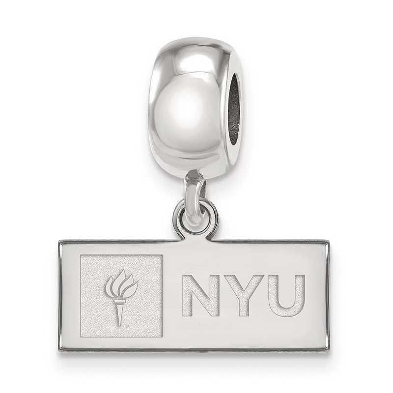 SS001NYU: SS Rh-Plat Logo Art New York Univ Reflection Beads Charm Xs