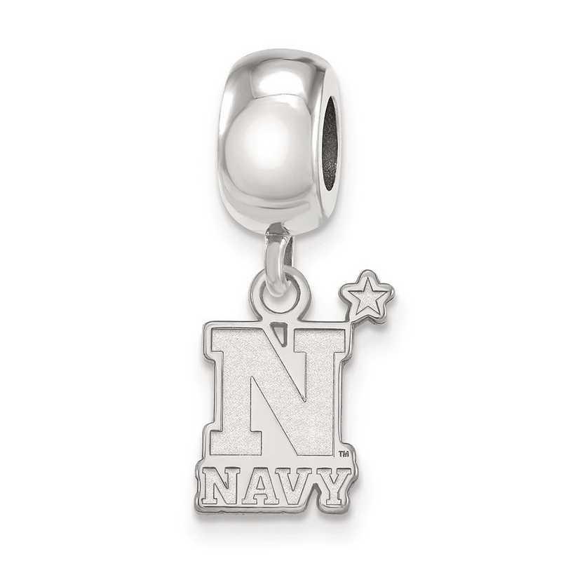 SS010USN: SS Rh-Plated Logoart Navy Small Dangle Reflection Beads