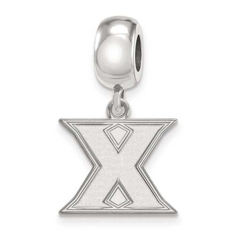 SS010XU: SS Rh-P Logoart Xavier Univ Small Dangle Reflection Beads