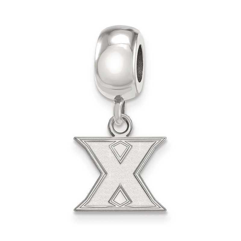 SS011XU: SS Rh-Plat Logo Art Xavier Univ Reflection Beads Charm Xs