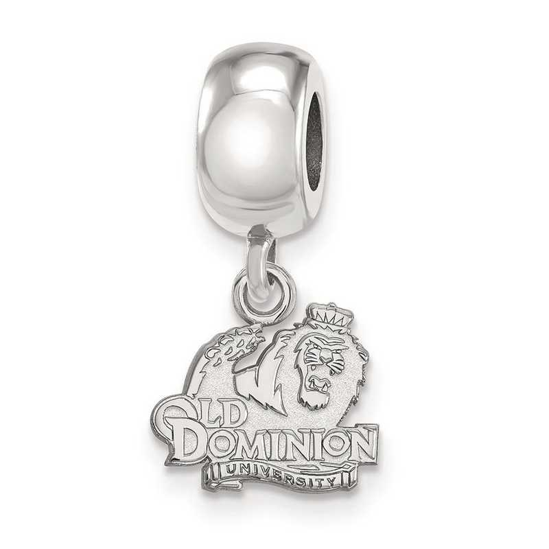 SS013ODU: SS Rh-P Logoart Old Dominion Univ Xs Reflection Beads Charm