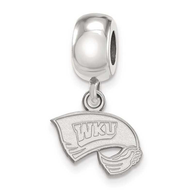 SS013WKU: SS Rh-P Logoart Western Kentucky U Xs Reflection Beads Charm