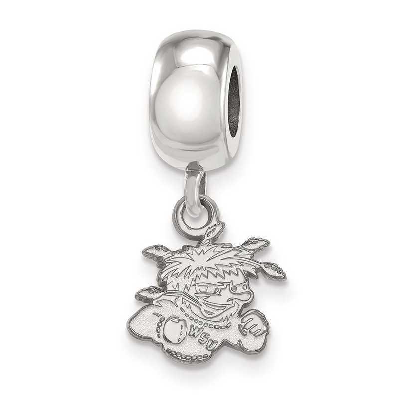SS013WST: SS Rh-P Logoart Wichita State Univ Xs Reflection Beads Charm