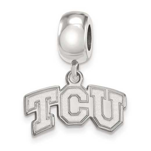 SS014TCU: SS Rh-P Logoart Texas Christian Univ Reflection Beads Charm