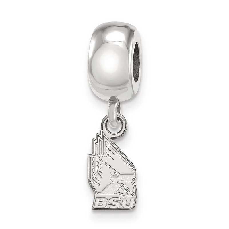 SS015BSU: SS Rh-P Logoart Ball State Univ Xs Reflection Beads Charm
