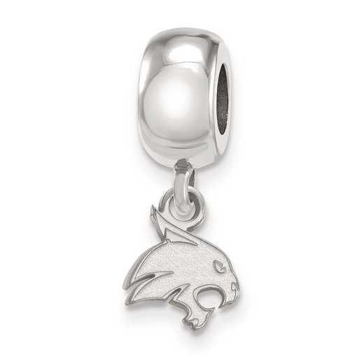 SS016TST: SS Rh-P Logoart Texas State Univ Xs Reflection Beads Charm