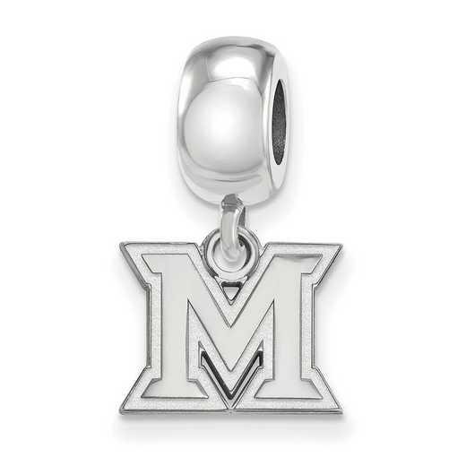 SS018MU: SS Rh-P Logoart Miami Univ Xs Dangle Reflection Beads Charm