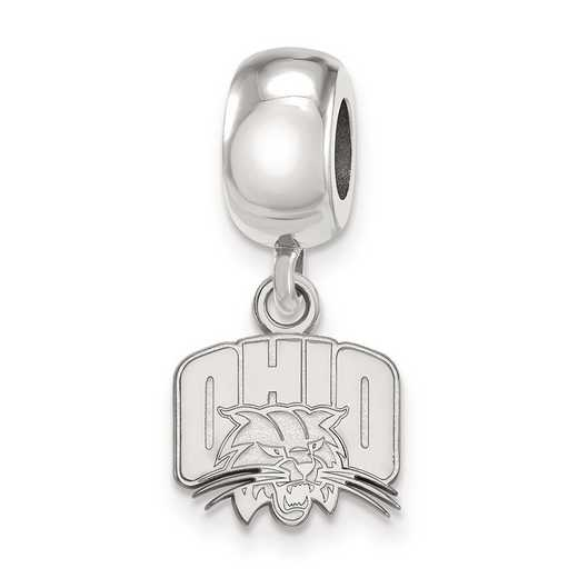 SS018OU: SS Rh-P Logoart Ohio Univ Xs Dangle Reflection Beads Charm