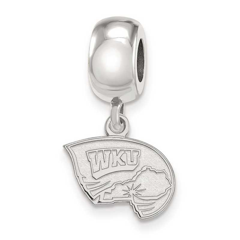 SS018WKU: SS Rh-P Logoart Western Kentucky U Xs Reflection Beads Charm