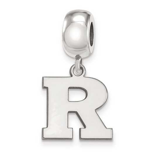 SS019RUT: SS Rh-Plated Logoart Rutgers Small Dangle Reflection Beads