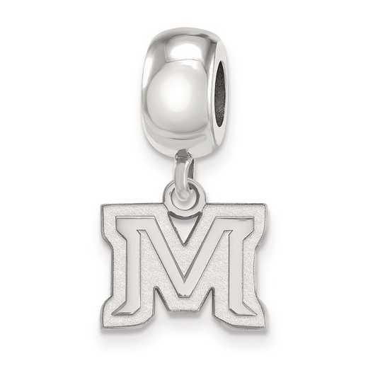 SS023MTU: SS Rh-P Logoart Montana State Univ Xs Reflection Beads Charm