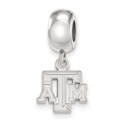 SS029TAM: SS Rh-P Logoart Texas A&M Univ Xs Reflection Beads Charm