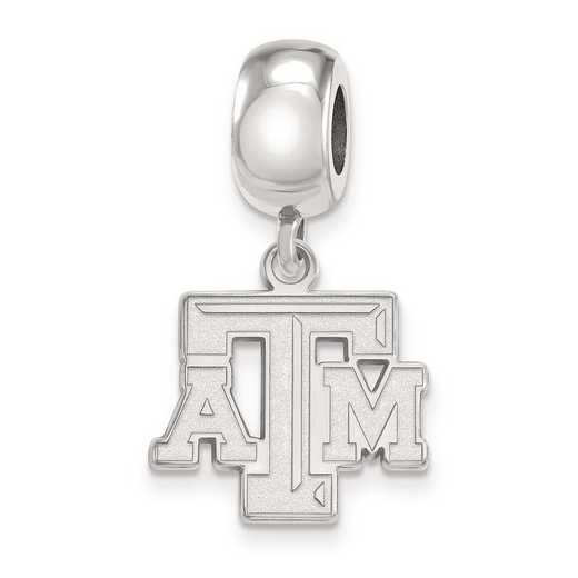 SS030TAM: SS Rh-P Logoart Texas A&M Univ Small Dangle Reflection Beads