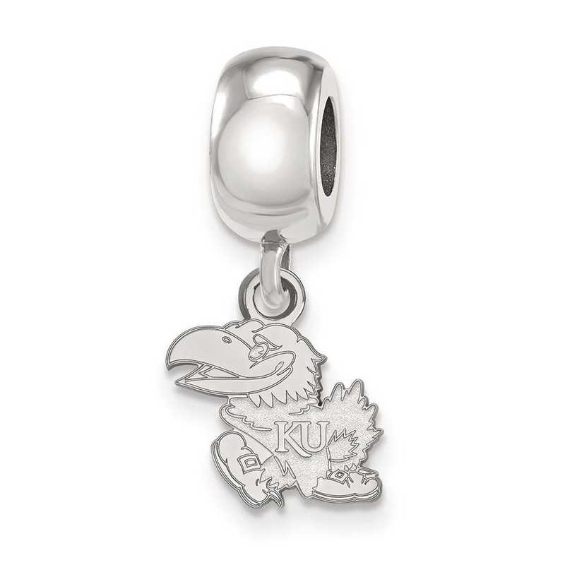 SS031UKS: SS Rh-P Logoart Univ Of Kansas Xs Reflection Beads Charm