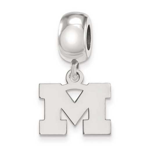 SS032UM: SS Rh-P Logoart Michigan (Univ Of) Xs Reflection Beads Charm