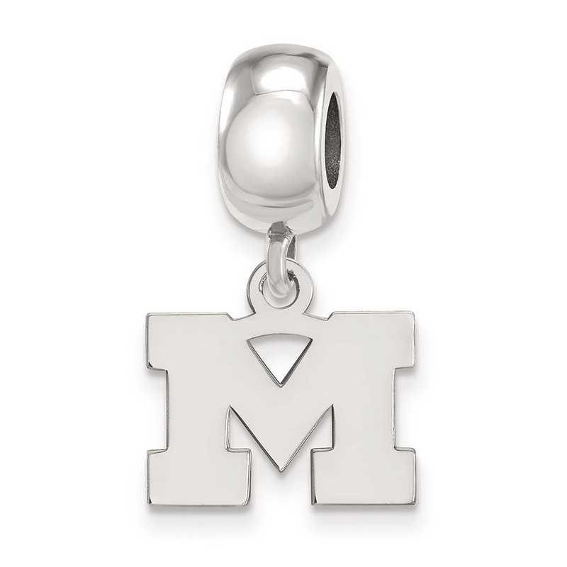 SS032UM: SS Rh-P Logoart Michigan (Univ Of) Xs Reflection Beads Charm