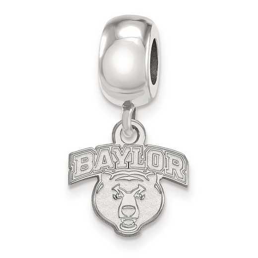 SS034BU: SS Rh-P Logoart Baylor Univ Xs Dangle Reflection Beads Charm
