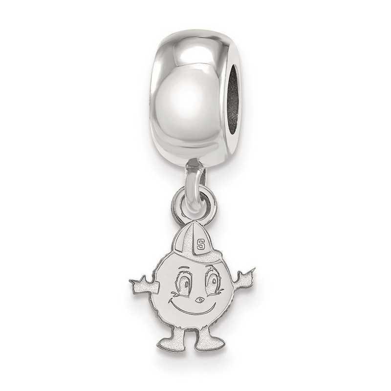 SS034SYU: SS Rh-P Logoart Syracuse Univ Xs Reflection Beads Charm