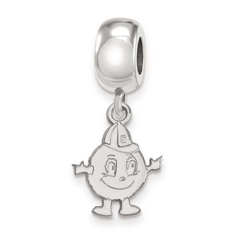 SS035SYU: SS Rh-P Logoart Syracuse Univ Small Dangle Reflection Beads