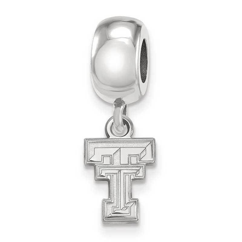 SS035TXT: SS Rh-P Logoart Texas Tech Univ Xs Reflection Beads Charm