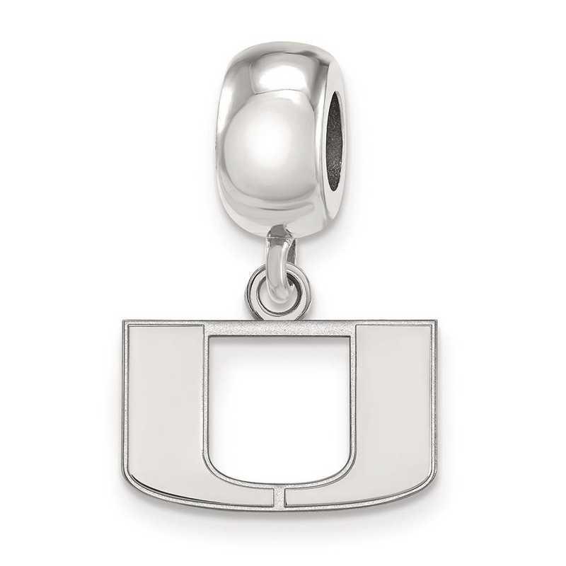 SS035UMF: SS Rh-P Logoart Univ Of Miami Xs Reflection Beads Charm
