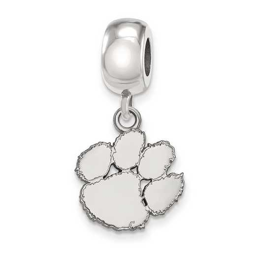 SS036CU: SS Rh-P Logoart Clemson Univ Small Dangle Reflection Beads