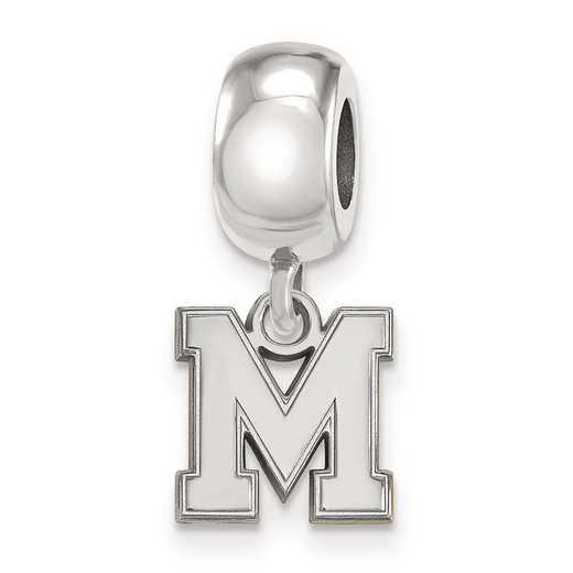 SS048UMP: SS Rh-P Logoart Univ Of Memphis Xs Reflection Beads Charm