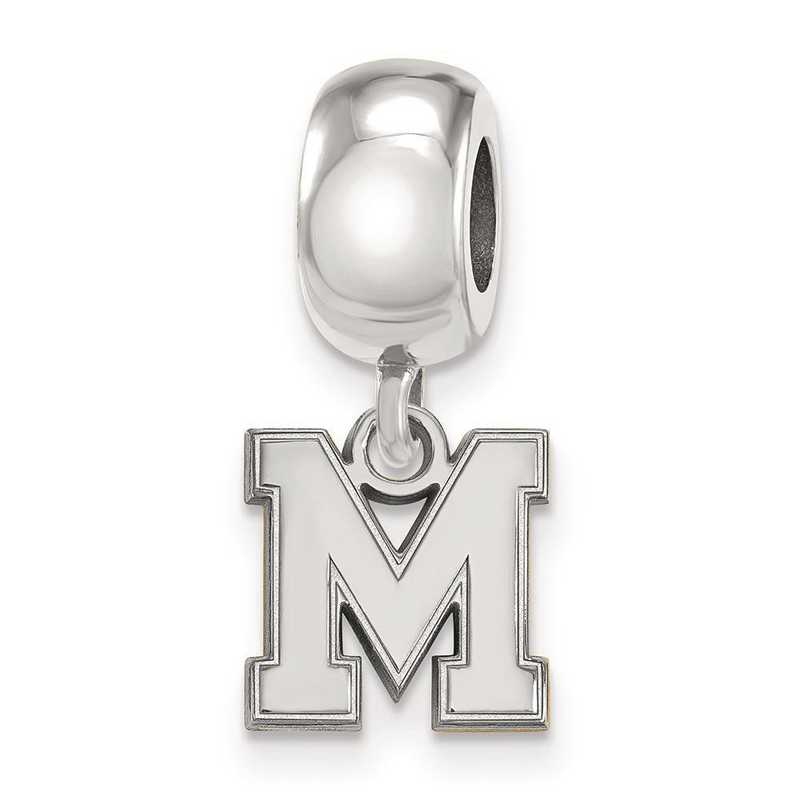 SS048UMP: SS Rh-P Logoart Univ Of Memphis Xs Reflection Beads Charm