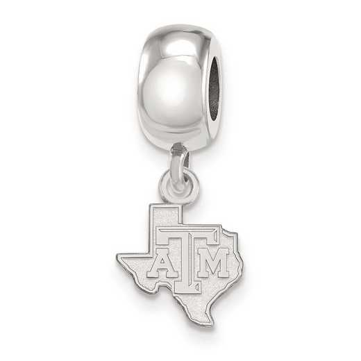 SS052TAM: SS Rh-P Logoart Texas A&M Univ Xs Reflection Beads Charm
