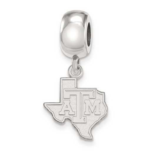 SS053TAM: SS Rh-P Logoart Texas A&M Univ Small Dangle Reflection Beads