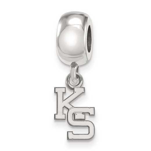 SS058KSU: SS Rh-P Logoart Kansas State Univ Xs Reflection Beads Charm