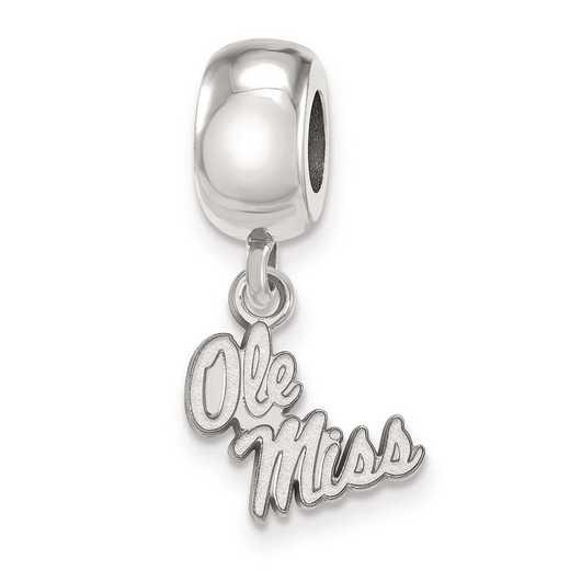 SS058UMS: SS Rh-P Logoart U Of Mississippi Xs Reflection Beads Charm