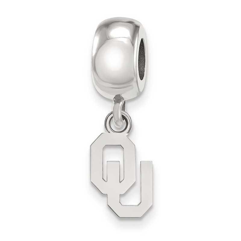 SS060UOK: SS Rh-P Logoart The Univ Of Oklahoma Charm Reflection Beads