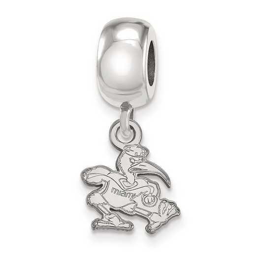 SS064UMF: SS Rh-P Logoart Univ Of Miami Xs Reflection Beads Charm