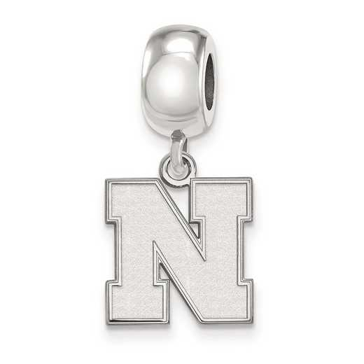 SS066UNE: SS Rh-P Logoart U Of Nebraska Small Reflection Beads Charm
