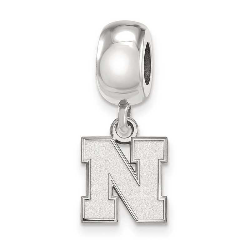 SS081UNE: SS Rh-P Logoart Univ Of Nebraska Xs Reflection Beads Charm